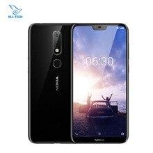 Küresel ROM Nokia X6 6GB 64GB 5.8 inç 18:9 FHD Snapdragon 636 Octa çekirdek 3060mAh 16.0MP + 5.0MP kamera parmak izi kimliği cep telefonu