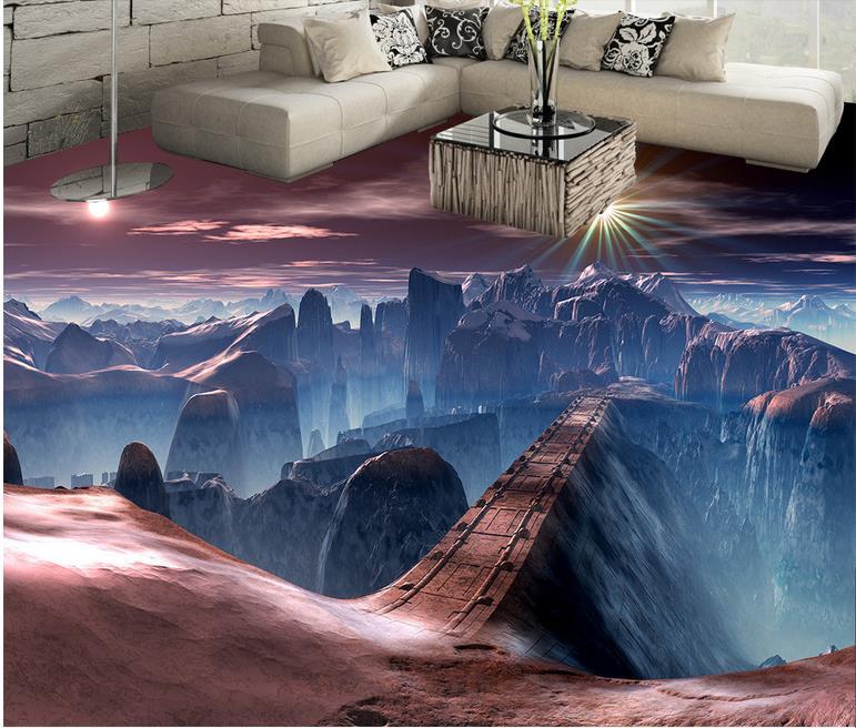 3d floor waterproof mural wallpape Game scene bridge 3d floor stereoscopic wallpaper papel de parede 3d europeu floor toilet time floor golf game set