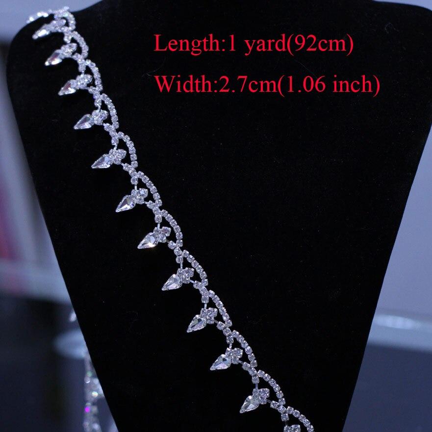 Free Shipping 5yards AAA Grade Silver Finish Crystal Rhinestone Trim Sew On Rhinestone Chain Applique for Wedding Gown RT053101