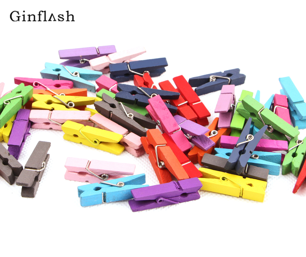50pcs Excellent  Mini Color Wooden Clips Decorations Paper Photo Spring Clips For Message Cards Office Supply 3.5X0.7cm