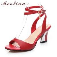 Meotina Sandalias de Cuero Genuino Tamaño Grande 34-44 de la Correa Del Tobillo Sandalias de Las Mujeres Peep Toe zapatos de Tacón Chunky Medio Rhinestone Negro rojo Blanco