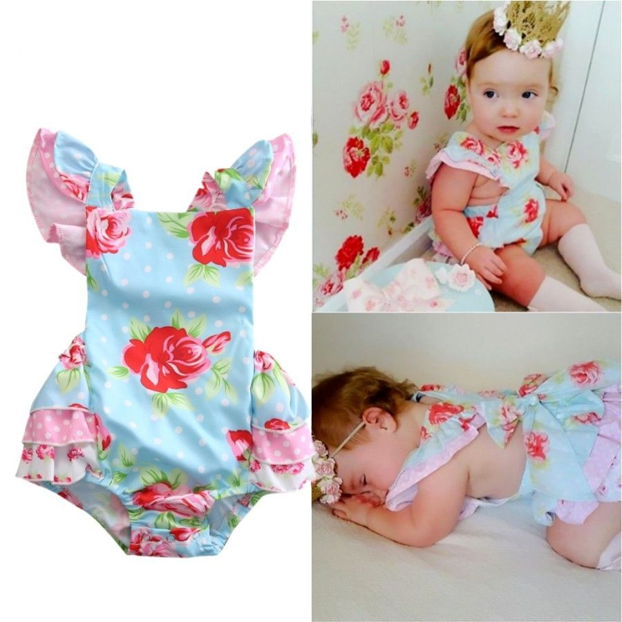 Newborn Infant Baby Girl Floral Ruffle Romper Jumper Jumpsuit Clothes