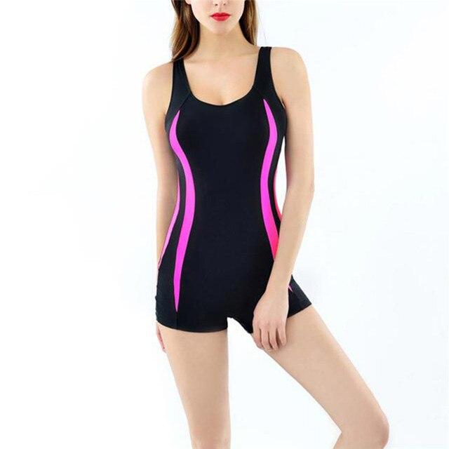 6a6a2ac18179 € 9.86 30% de DESCUENTO|2018 trajes de baño de una pieza para mujer traje  de baño a rayas pantalones cortos sin espalda traje de baño deportivo playa  ...