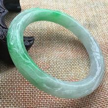 59,6 мм ручной работы, резные Китайский Зеленый жадеит нефритовый браслет F21