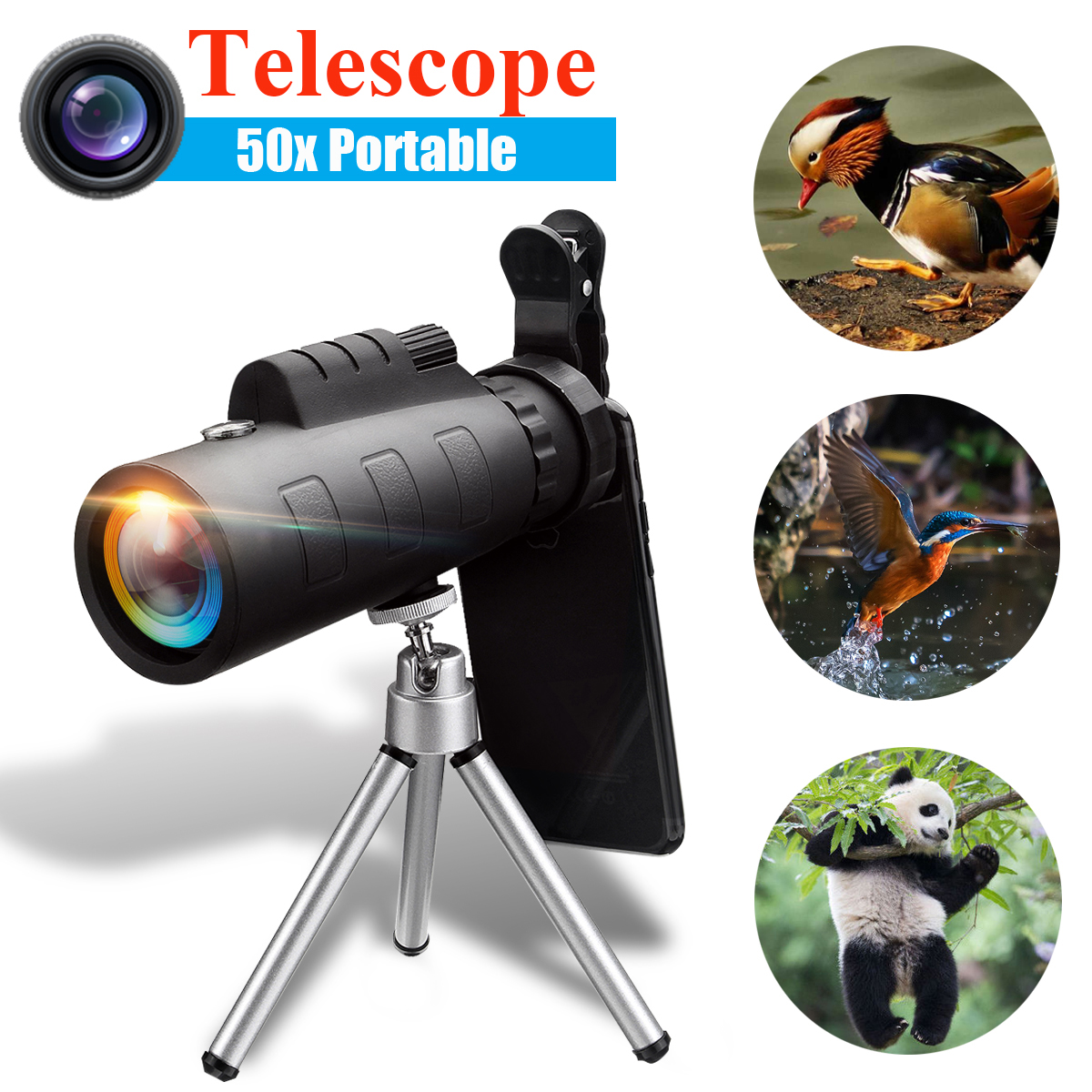 50X60 BAK4 Night Vision Monocular Telescope HD Zoom Optical Lens Camera with Phone Clip Tripod For iPhone XR for Samsung S9