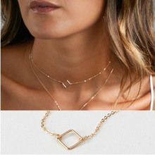 Fashion Multi Layer Choker Necklace For Women Gold Silver Geometric Necklace Pendant On Neck Choker Jewelry fashion women jewelry cute heart lock necklace gold silver chain choker necklace pendant on neck accessories