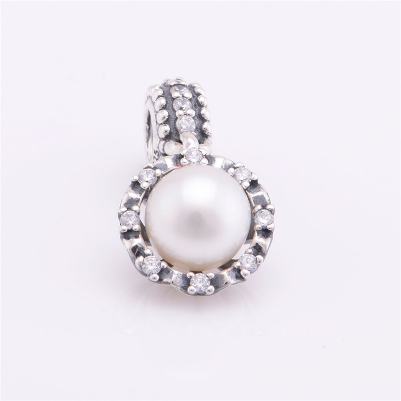 925 Sterling Silver Charms Pendent Beads pave pearl Threaded hole Jewelry accessorie Fit European Style Bracelets DIY Making