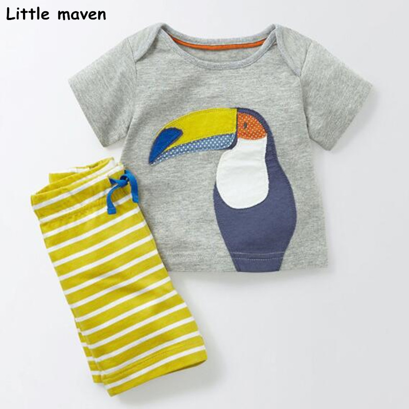 Little maven brand children 2018 summer new baby boys clothes cotton children's sets bird applique t shirt + striped pants 20207 striped tape applique velvet pants