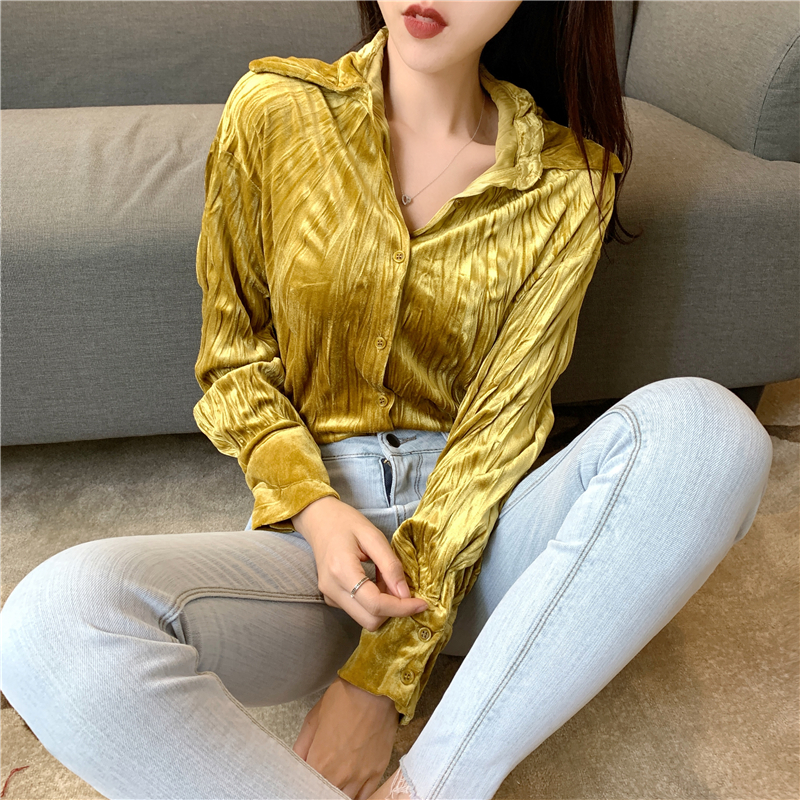 Vintage V-neck Velour Single Breasted Women   Blouse     Shirts   Loose Full Sleeve Ruched Chic Female   Blouses   Tops 2019 Spring Summer