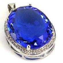 Big Gems 22x18mm Rich Blue Violet Tanzanits, CZ Woman's SheCrown Silver Pendant 25x20mm