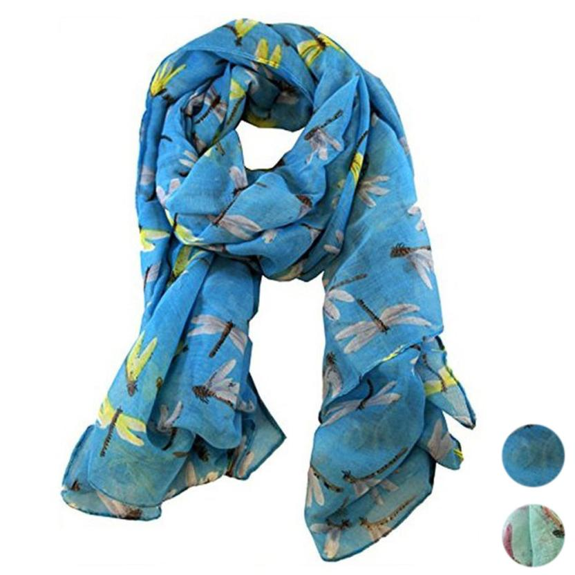 Lady Womens Long Cute Dragonfly Print   Scarf     Wraps   Shawl Soft   Scarves   Spring Dec 5 6.28