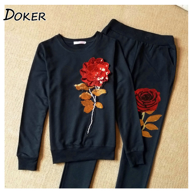 3D Rose Flower Sequin Two Piece Set Sweatshirts Women Casual Pullovers And Pants 2pcs Tracksuit Female Pink Outfit Sporting Suit