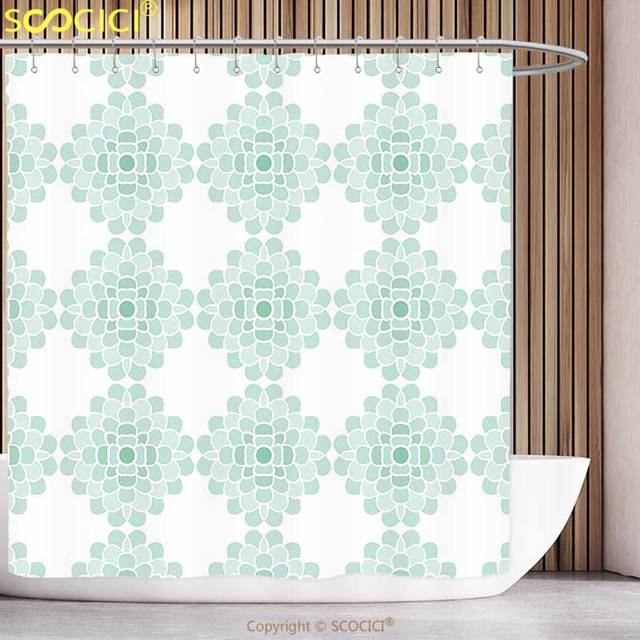 Stylish Shower Curtain Aqua Horizontal Lines Stripes Bold And Thin Ocean  Themed Image Turquoise Green Light