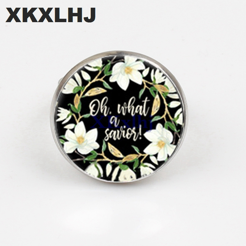 XKXLHJ Classic Bible Scripture Ring Handmade Art Picture Glass Dome Charm Ring Psalm Quote Jewelry Christian Gift in Rings from Jewelry Accessories