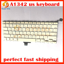 5pcs/lot A1342 keyboard us clavier for macbook 13inch A1342 white keyboard without backlight backlit white perfect testing