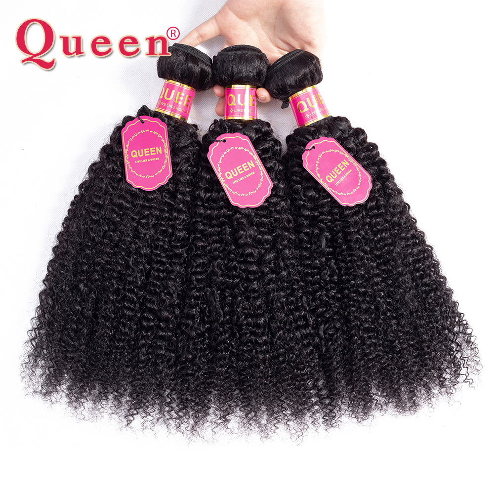 Queen Hair Products Malaysian Kinky Curly Hair Weave 3 Bundles Double Weft Remy Human Hair Weave