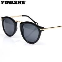 YOOSKE 4 Colors Retro Round Women Sunglasses Brand Mirrored Female Sun Glasses Women's Glasses Feminine