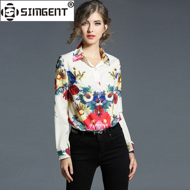 Simgent Blouses New Women Long Sleeve Turn Down Collar Casual Office Euro Ameraican Flower Print Chiffon Blouse Blusas SG712133