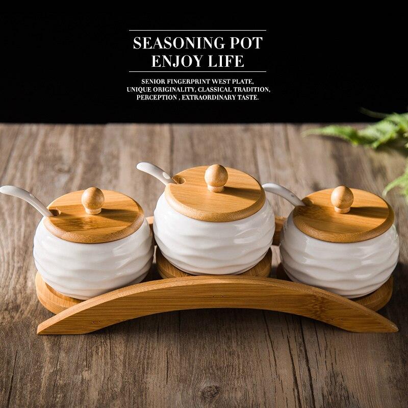 Creative household ceramics flavor pot three piece kitchen for Peralatan kitchen set