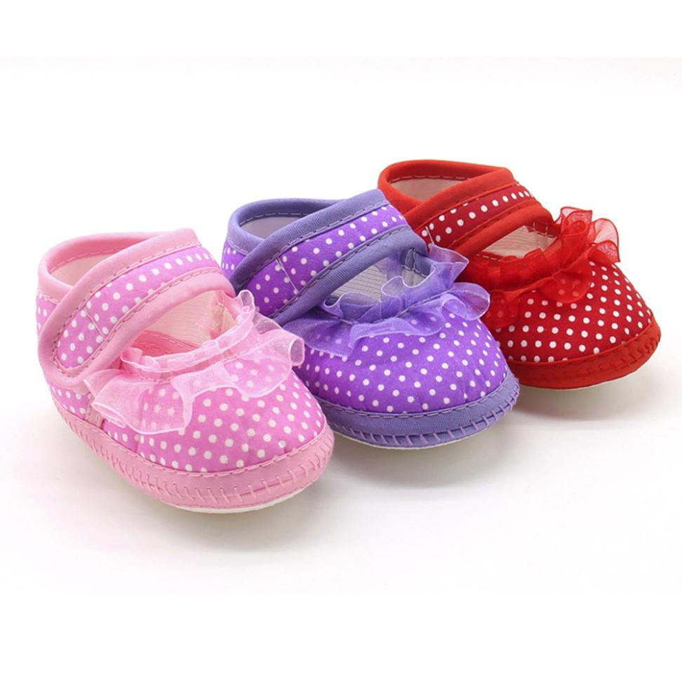 2018 New Hot Cute Newborn Infant Baby Dot Lace Girls Soft Sole Prewalker Warm Casual Fla ...
