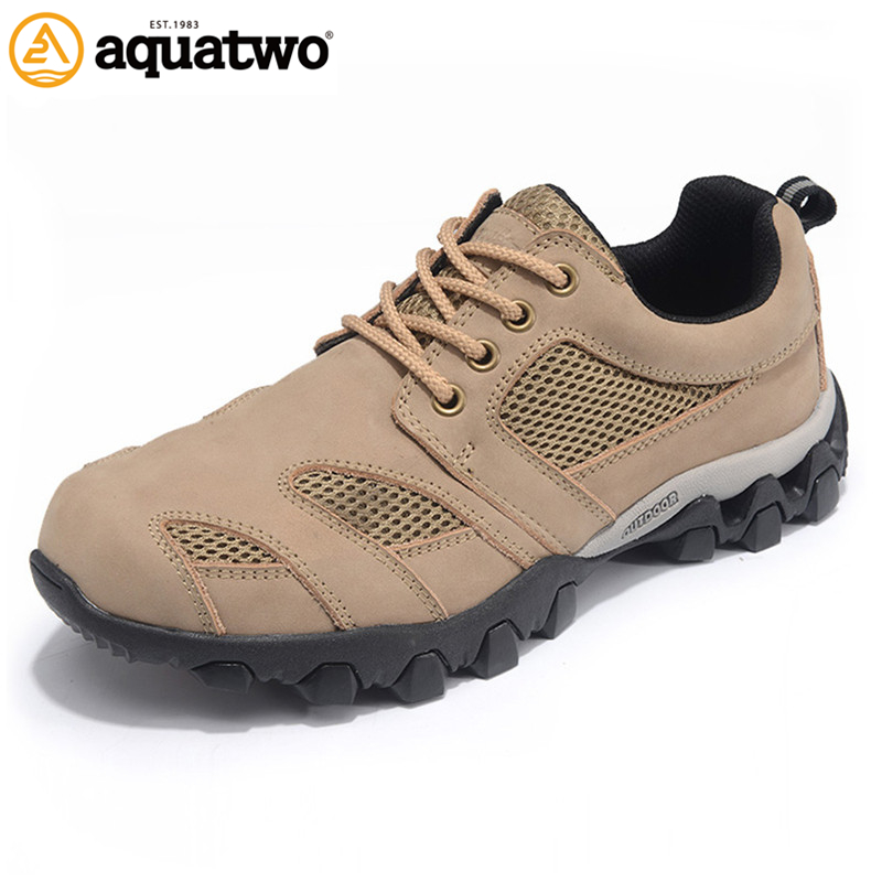 AQUA TWO Outdoor Men Hiking Shoes Genuine Leather Camping Climing Sneakers Athletic Trekkin Breathable Shoes Big Size 39-48 aqua two outdoor camping men sports hiking shoes genuine leather athletic trekking sneakers durable waterproof shoes es 101807