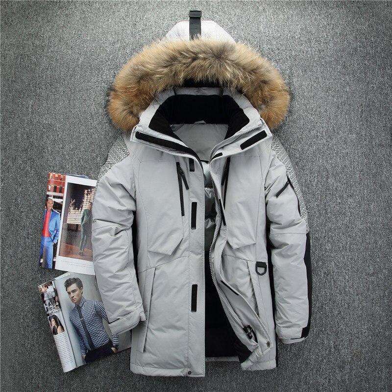 Nouvelle arrivée Russie hiver vestes pour hommes col de fourrure moyen long manteau épais de hommes vers le bas veste coupe-vent doudoune hiver homme
