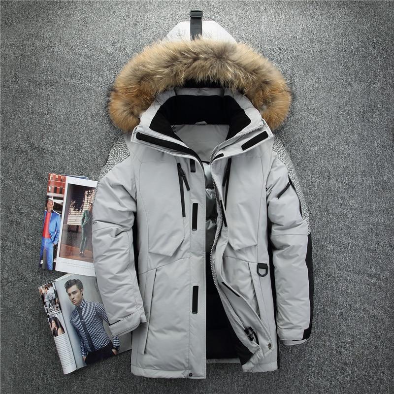 Nuovo arrivo Russia giacche invernali per gli uomini del collare della pelliccia medio lungo cappotto degli uomini di spessore di down giacca antivento doudoune hiver homme