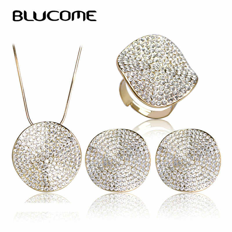 Blucome Wedding Dress Accessories Jewelry Sets Collares Femininos Max Brincos Necklace Earring Ring Set Anillo Brand Bijuterias