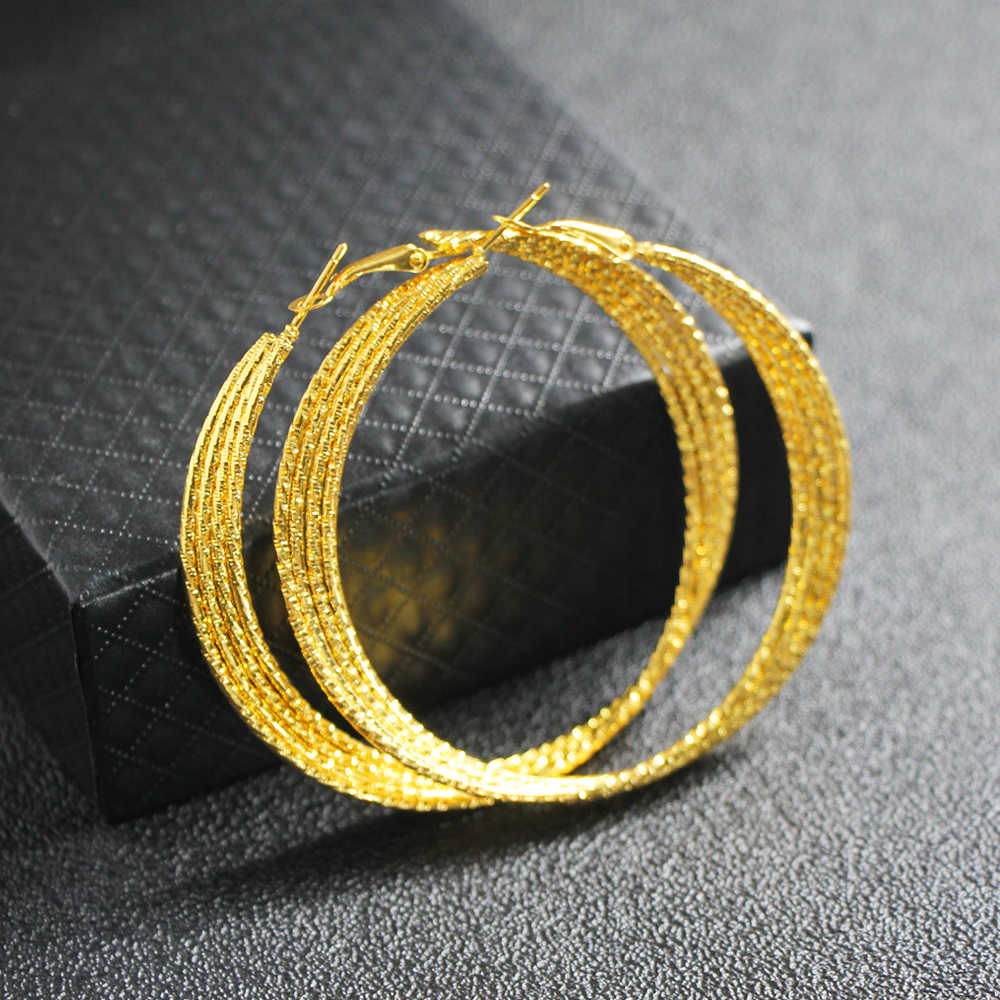 Flatfoosie Big Round Twist Hoop Earrings For Women 2018 Fashion Gold Color Metal 70mm Circle Geometric Earring Trendy Jewelry