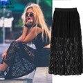 Moda primavera Das Mulheres Saia de Renda Dupla Camada Elástica preto Elegante Das Senhoras Maxi Saias Longas saias 63