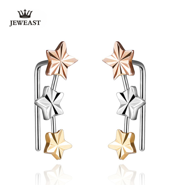 18k Gold Stud Earring Yellow/white/rose For Women Girl Star Earrings Row Party Fashion Design Genuine Jewelry 2017 New Trendy