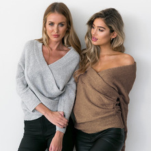 women autumn winter fashion casual sexy V neck off shoulder knitted sweater female fall soft elastic slim jumper pullover T209