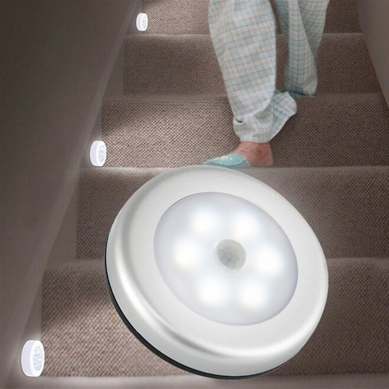 1Pcs 6LED PIR Body Motion Sensor Wall light Led night light Battery for Closet, Stairs, Basement Hallway Wall Cabinet luminarias