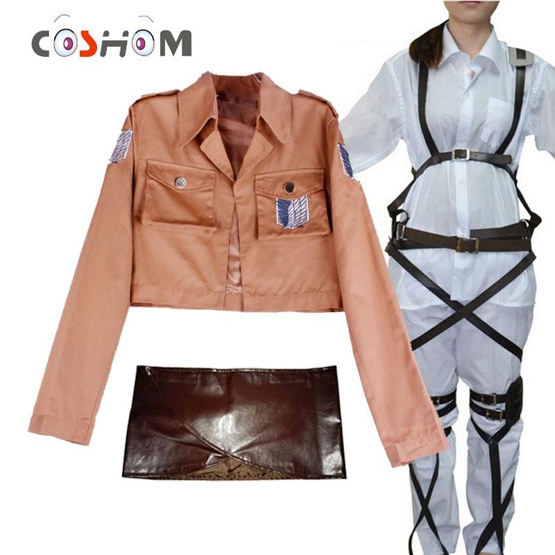 Coshome Attack On Titan Cosplay Shingeki No Kyojin Mikasa Ackerman Cosplay Costume Shawl Belt Suit Leather Shorts Full Set