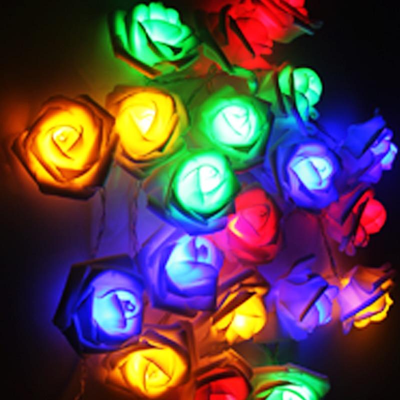 Fashion AC110-240V 5M 20leds Holiday Lighting LED Nyhet 6cm Big Rose - Ferie belysning - Bilde 4