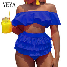 YEYA Sexy Female Retro Wrapped Chest Two Pieces Sets Swimsuits Women Summer Elegant Ruffles Beach Casual Swimwear Bodysuits