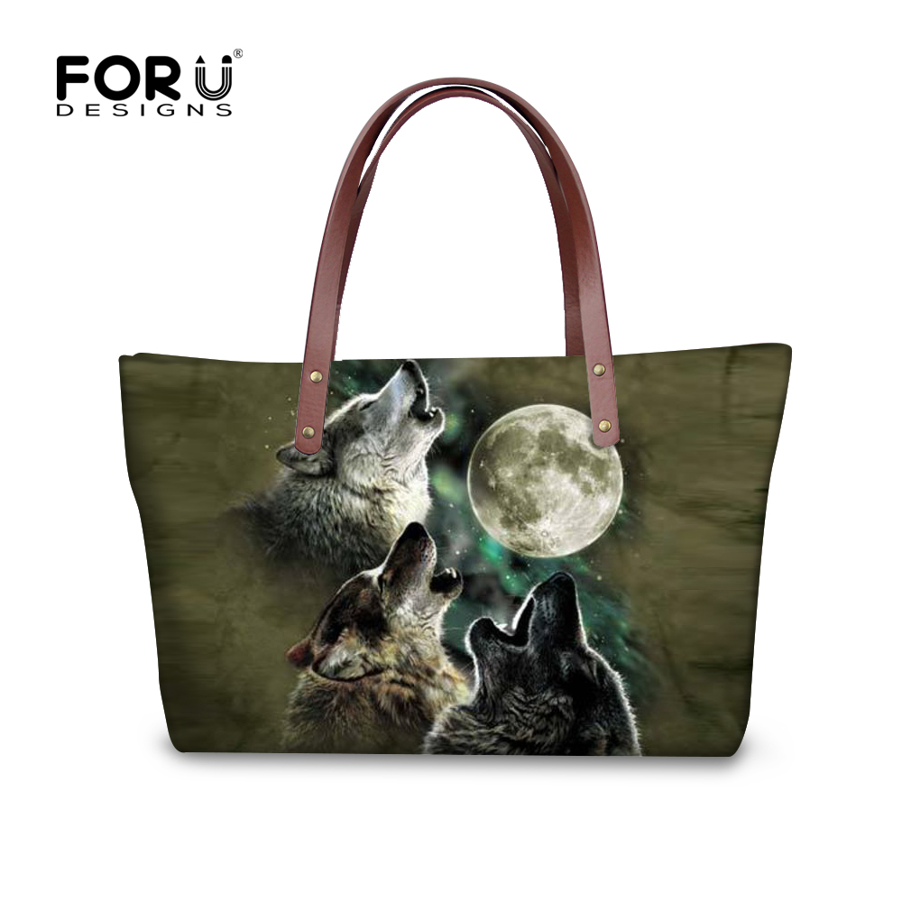 FORUDESIGNS Shoulder Bag Wolf Printing Ladies Luxury Handbag Fashion Tote Shoulder Bags Women Big Messenger Handbag Purse Bolsa aelicy women fashion handbag crack shoulder bag large tote ladies purse messenger bag solid bag bolsa feminina bags women 0829