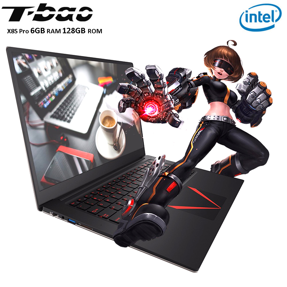 T-Bao Tbook X8S Pro Notebook 15.6'' FHD 6GB+128GB Windows 10 Intel Celeron J3455 Quad Core 1.5GHz Laptops W/ HDMI Camera Type-C