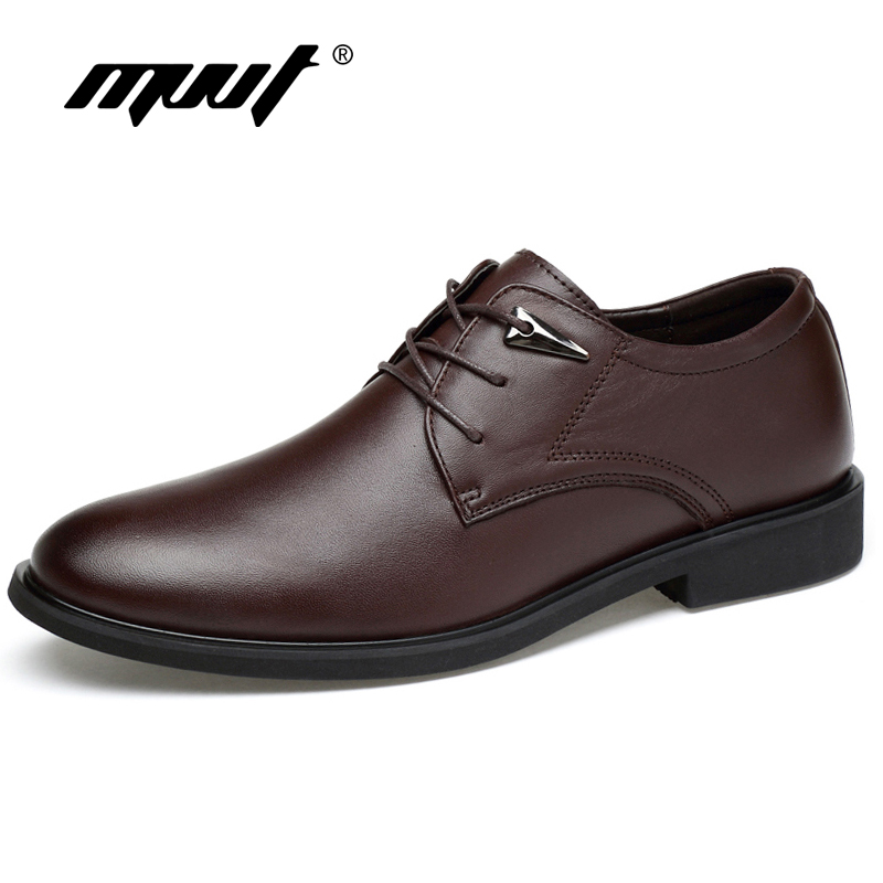 MVVT Plus Storlek Äkta Läder Klänning Skor Fashion Pointed Toe Men Oxfords Högkvalitativa Läder Män Skor Solid Men Flats Shoes