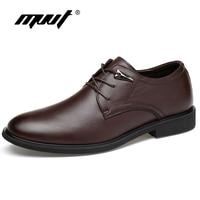 Mejor Zapatos de vestir de cuero genuino de talla grande MVVT, zapatos de moda con punta estrecha para hombres, zapatos Oxford de cuero de alta calidad para hombres, zapatos planos de hombres sólidos