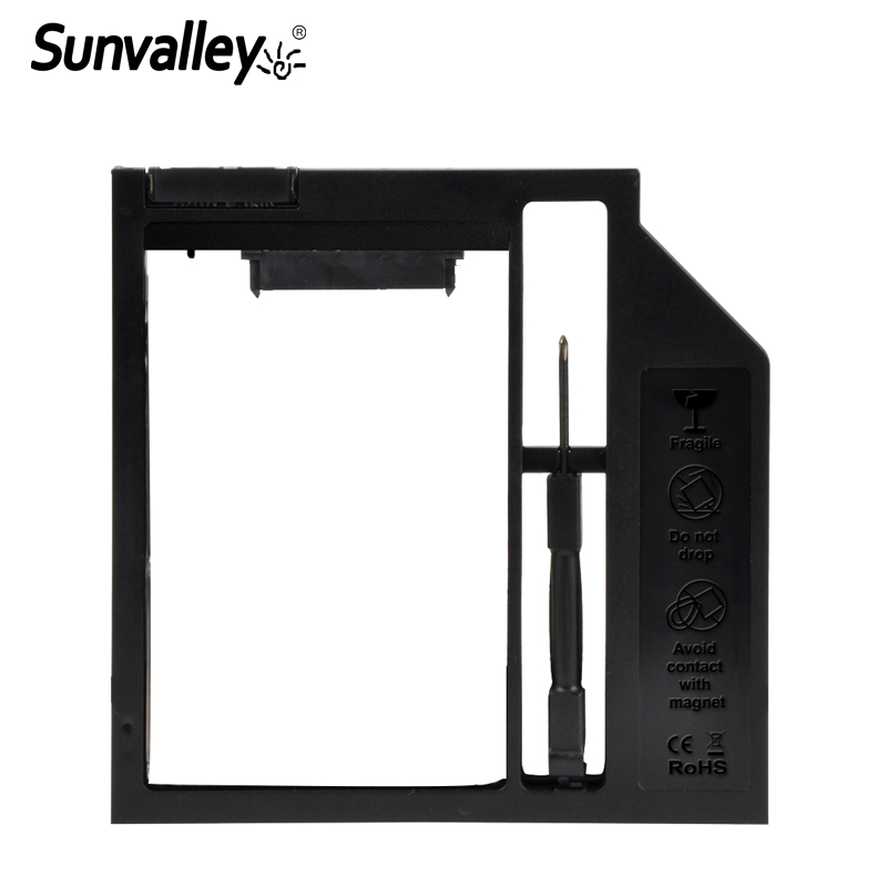 Sunvalley 9mm Plastic Material For Laptop DVD/CD-ROM Universal 2nd HDD Caddy 9mm 9.5mm 3.0 SATA 2.5