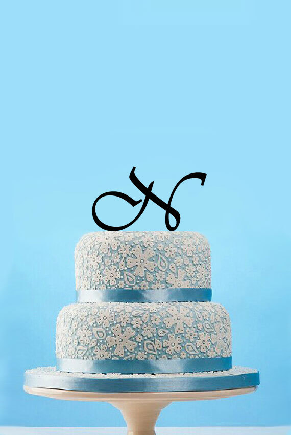 unique letter n monogram cake topper custom initials name wedding