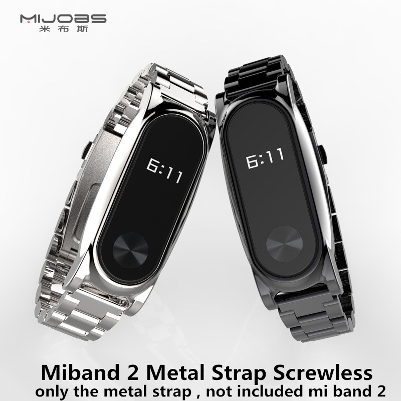 Mijobs Metal Strap For Xiaomi Mi Band 2 Screwless Stainless Steel Bracelet For MiBand 2 Wristbands Replace Wrist Strap