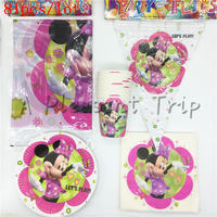 81pcs Lot Cartoon Minnie Mouse Theme Children S Birthday Party Accessories Baby Shower Decoration Event Supplies