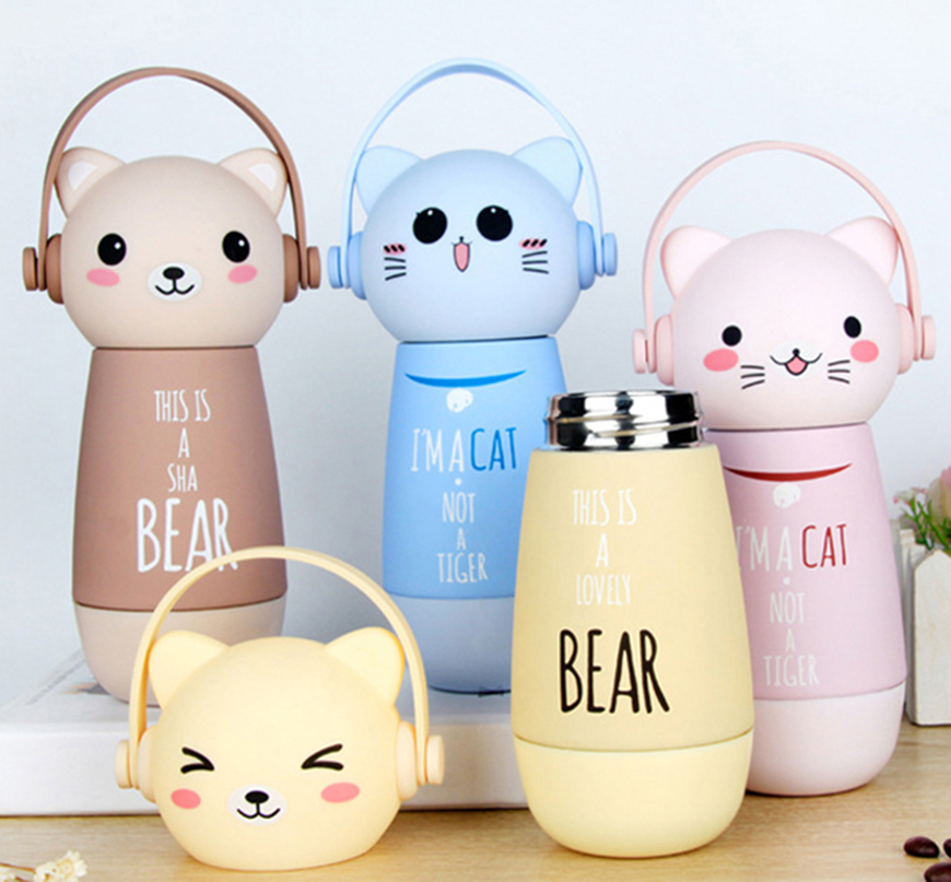260ml Cartoon Mini Thermos Bottle Mug Cute Animal Children Stainless Steel Vacuum Flask Travel Portable Kids Baby Insulation Cup my favouite travel mug tea coffee water vacuum cup thermos bottle stainless steel water bottle mug ice cream
