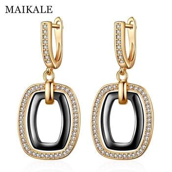 9a24bd3fffe0 MAIKALE nueva moda cuadrado pendientes de cobre AAA Cubic Zirconia negro  blanco de cerámica de Color oro y plata pendientes para el regalo de las  mujeres
