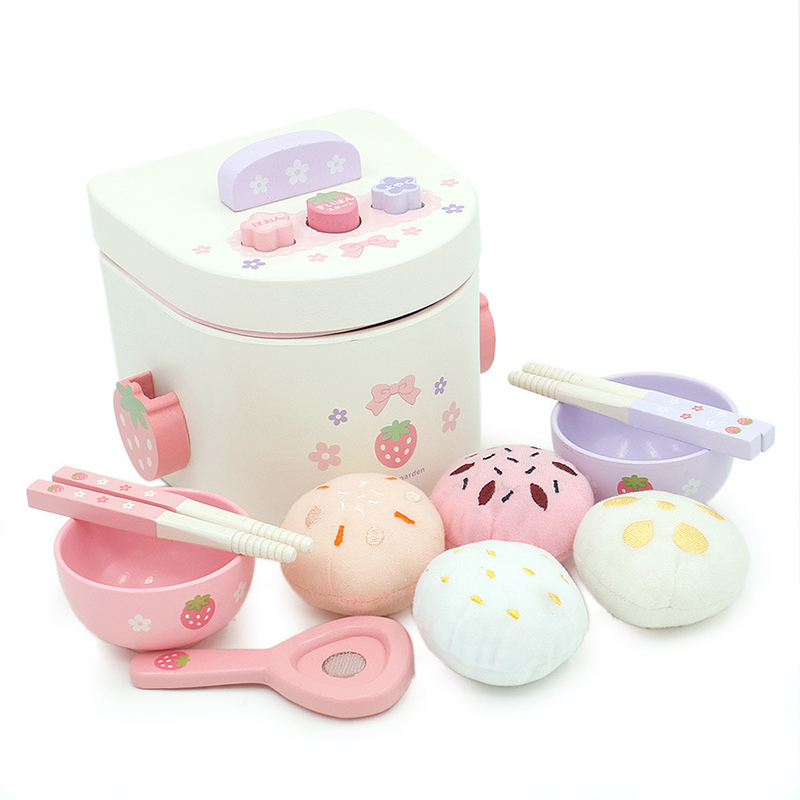 Children's Wooden Play House Girl Cooking Toys Rice Cooker Simulation Small Appliances Kitchen Rice Cooker Gift