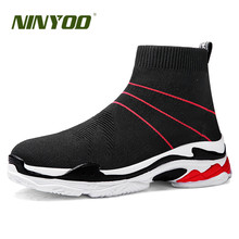 NINYOO Summer Sport Fashion Sneakers For Men Brand Mesh Casual Shoes Unisex Breathable Light Lovers Sock Boots Female Footwear