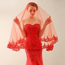 Горячая простой красный один слой кружево для свадебной вуали белая Фата высокого качества свадебная вуаль