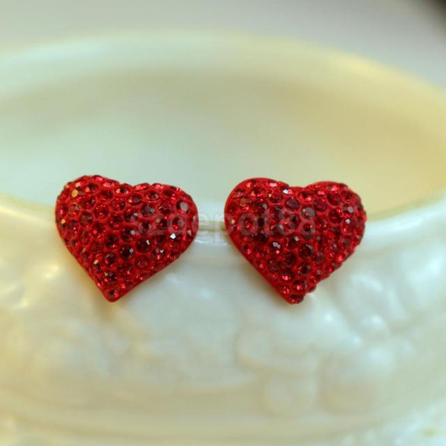 Women Sweet Cute Ear Stud Crystal Rhinestone Love Red Heart Earrings